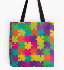 Colorful Jigsaw Puzzle Pattern Tote Bag