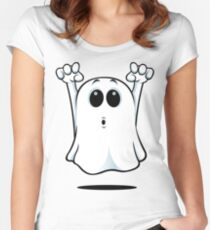 Cartoon Ghost - Going Boo! Women's Fitted Scoop T-Shirt