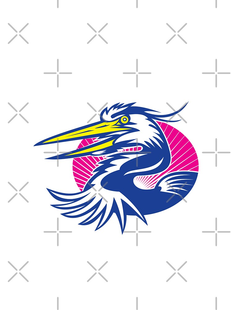 Great Blue Heron Head Retro by patrimonio