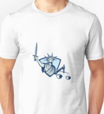 Statue of Liberty Holding Scales Justice Sword T-Shirt