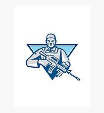 American Soldier Assault Rifle Retro Photographic Print
