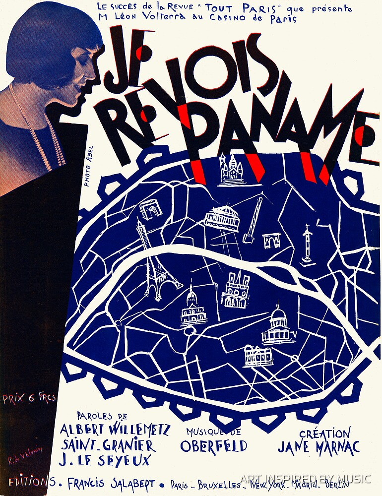 JE REVOIS PANAME  (vintage illustration) by ART INSPIRED BY MUSIC