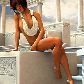 Sunbathing Gia at a Greek Pool by InfinityRain