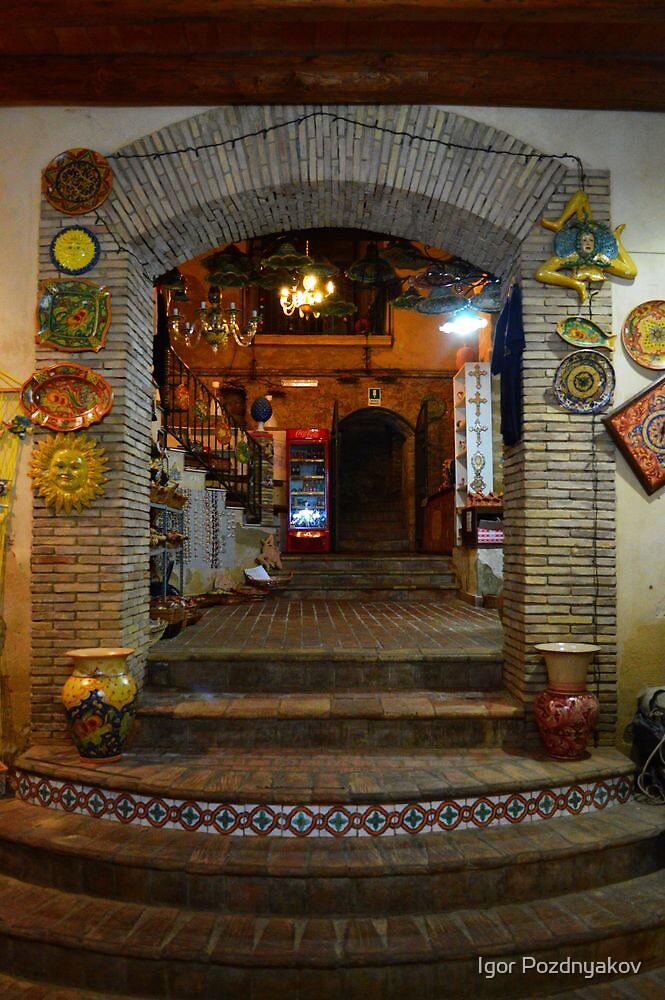 Ceramics Shop Entrance, Caltagirone, Sicily by Igor Pozdnyakov