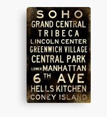 "New York ""SOHO"" V1 Distressed subway sign art Canvas Print"