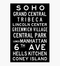 "New York ""SOHO"" Classic Black & White subway sign art Photographic Print"