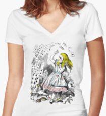 Vintage Alice in Wonderland Card Attack Women's Fitted V-Neck T-Shirt