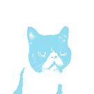 cat contemplating - baby blue by pheeeeebs