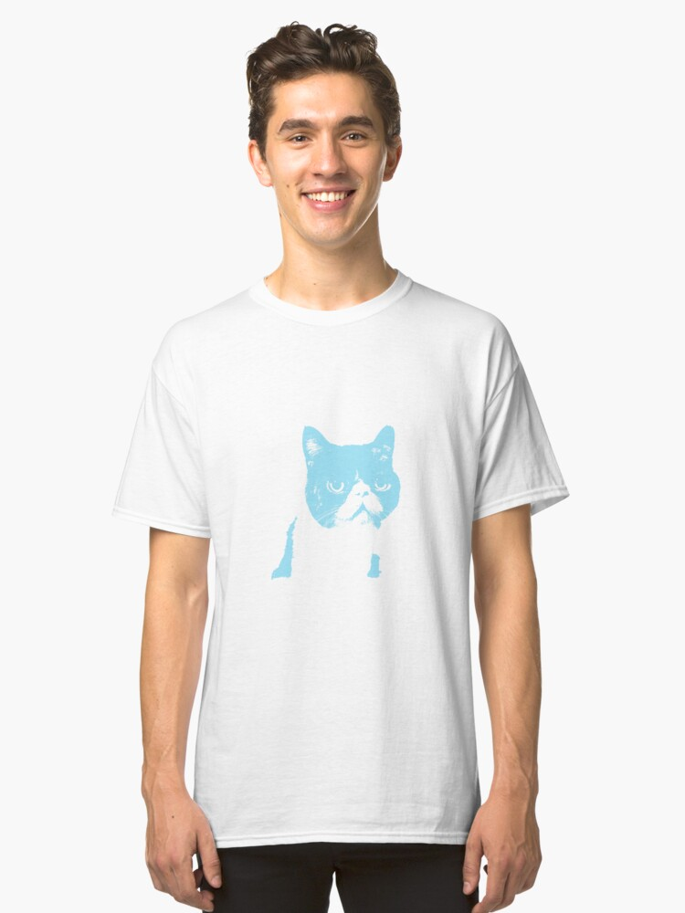 cat contemplating - baby blue Classic T-Shirt Front