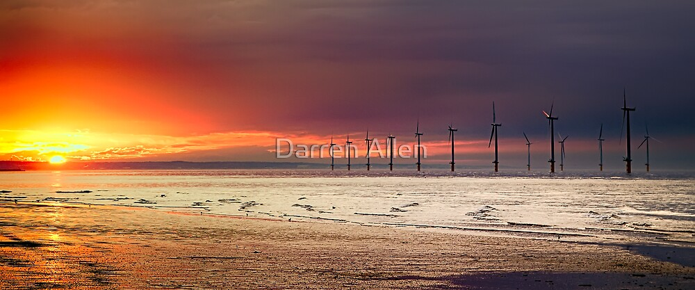 Sunset & Wind Turbines by Darren Allen