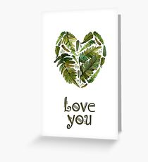 Watercolor green fern heart Greeting Card