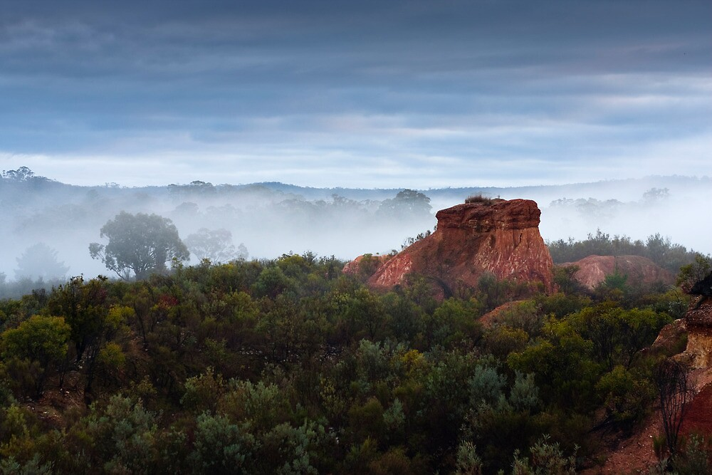 Red Rock In Fog by Madmick19