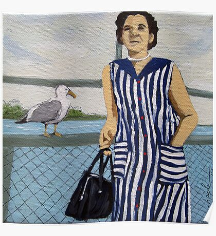 The Cruise - vintage woman with seagull print from my original oil painting Poster