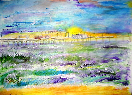 AnOther OReilly ORiginal Painting 50 shades of sunset on a pier  by Timothy C O'Reilly