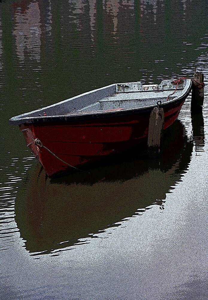Red Boat in a canal in the Netherlands by Randall Nyhof