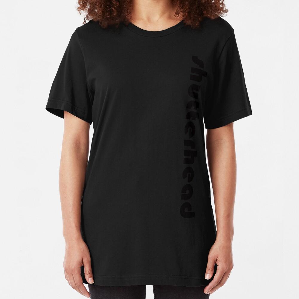Shutter Head Logo Design 5 Vertical ( Black Font ) Slim Fit T-Shirt
