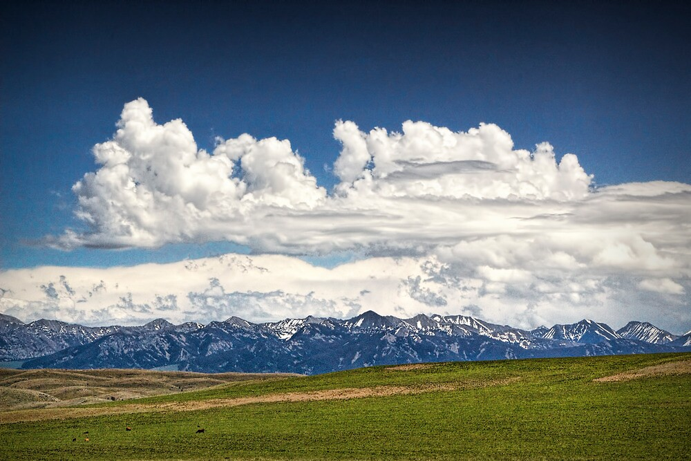 Clouds over a Mountain Range in Montana by Randall Nyhof