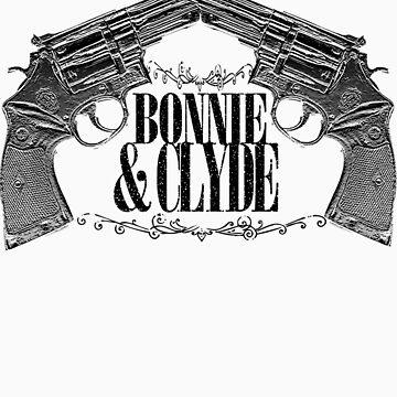 Bonnie & Clyde Crossed Guns by elevensie