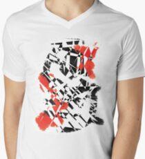 Black and Red Men's V-Neck T-Shirt