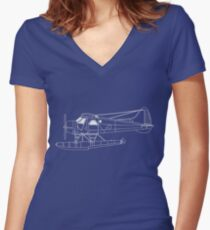 de Havilland Canada (DHC-2) Beaver Blueprint Women's Fitted V-Neck T-Shirt