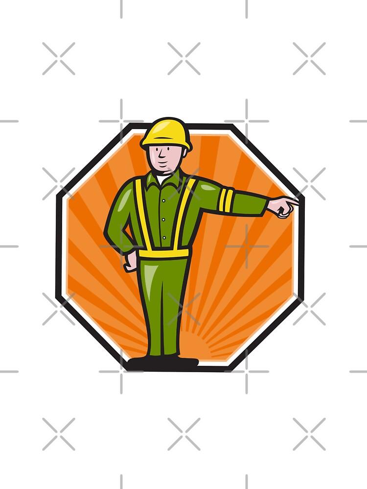 Emergency Worker Pointing Side Cartoon by patrimonio
