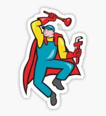 Super Plumber Plunger Wrench Cartoon Sticker