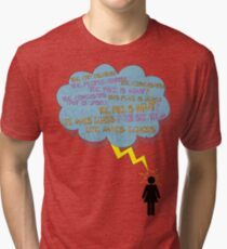 life makes ECHOES. (stick girl.) Tri-blend T-Shirt