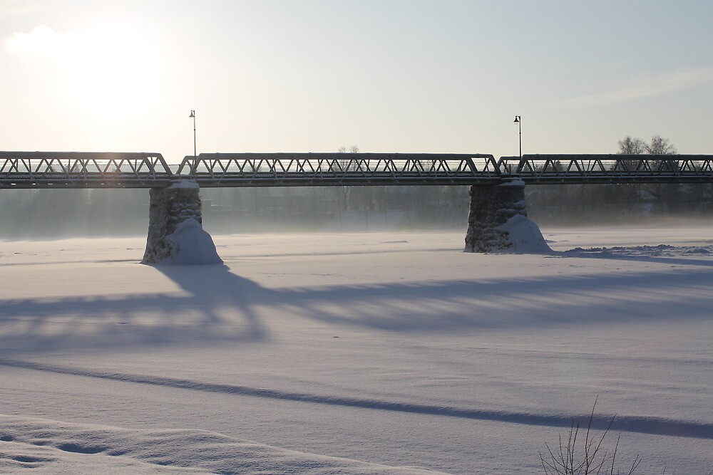 Bridge over the river Glomma, Elverum, Norway. Winter evening sun. by UpNorthPhoto