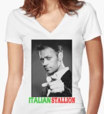 ITALIAN STALLION - ROCCO SIFFREDI Women's Fitted V-Neck T-Shirt