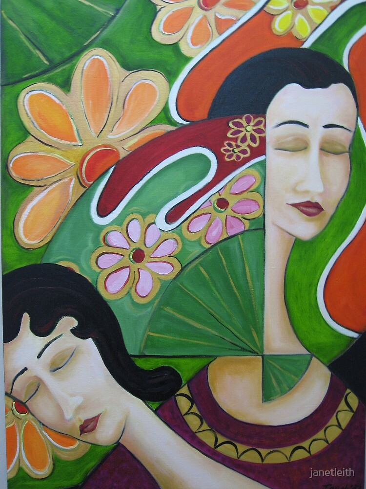 Women with Japanese Fans One, 2007 by janetleith