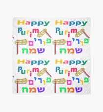 Happy joyous Purim In Hebrew and English Scarf