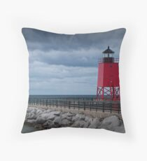Charlevoix Lighthouse in Charlevoix Michigan Throw Pillow