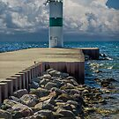 Lighthead at the end of the pier in Pentwater Michigan by Randall Nyhof