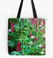 Romantic summer garden with globe thistle Tote Bag