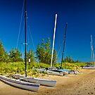 Catamaran Sailboats on the Beach by Randall Nyhof