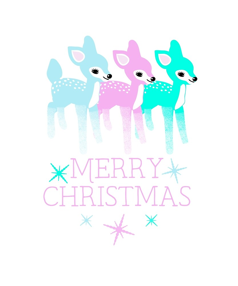 Pastel Colored Kitschy Vintage Deer Fawns Merry Christmas by awkwarddesignco
