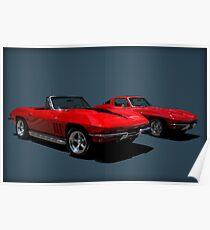 1965 Corvette Convertible and 1964 Corvette Stingray Poster