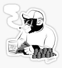 Chimp poker Sticker