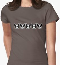 Boston Terrier dogs on the horizontal - black and white Bostons Women's Fitted T-Shirt