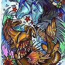 sea horse, fantasy tattoo art by resonanteye