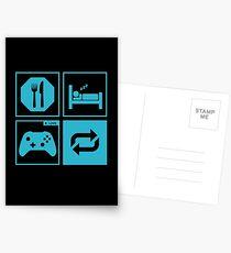 Eat, Sleep, Game, Repeat. Postcards