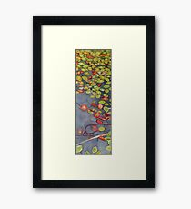 Lily pads on One Mile Lake, watercolor on paper mounted on board Framed Print