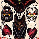 bat, skulls, hearts. old school tattoo flash by resonanteye