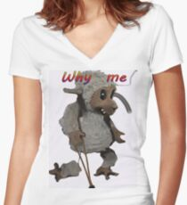 WHY ME Women's Fitted V-Neck T-Shirt