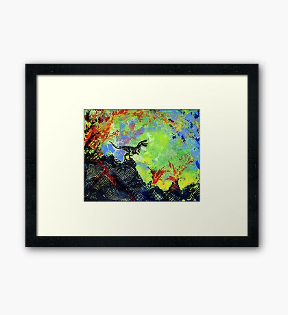 Dinos and Lava Framed Print
