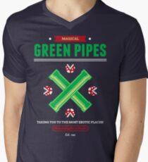 Green Pipes Mens V-Neck T-Shirt