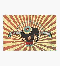 Vintage style circus elephant big top stripes Photographic Print