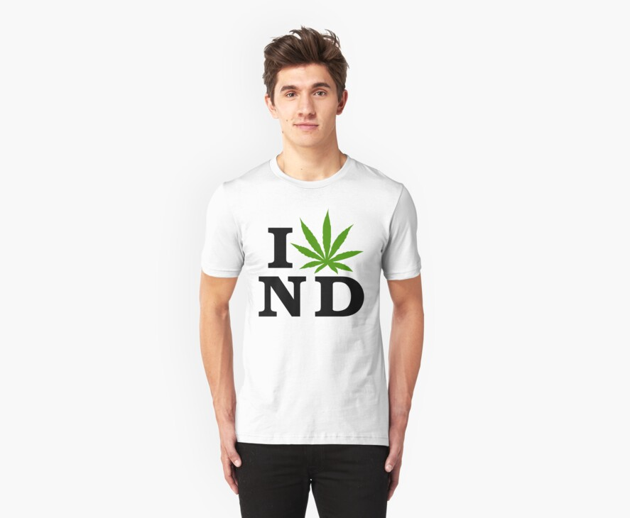 I Love North Dakota Marijuana Cannabis Weed T-Shirt by MarijuanaTshirt