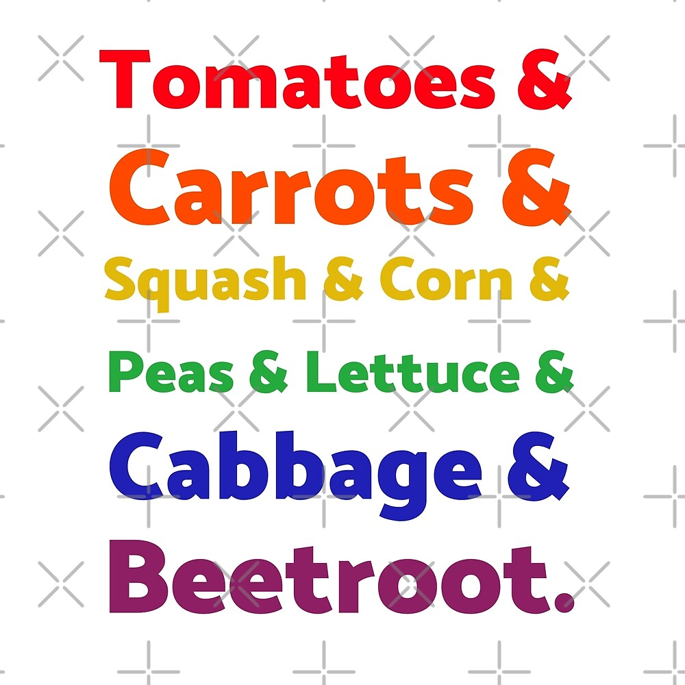 Rainbow List of Vegetables by Sweevy Swag