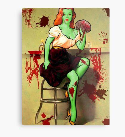 BRAINS! Zombie Pinup Metal Print